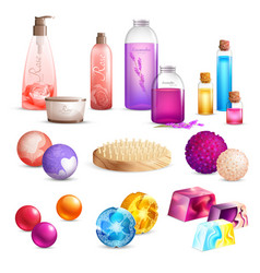 Bath beauty products set vector
