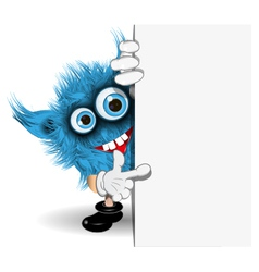 Blue Monster over White Background vector image