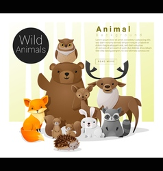 Cute animal family background with wild animals vector