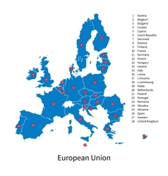 Detailed map of european union and european vector