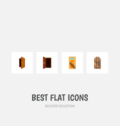 flat icon approach set of entry approach wooden vector image vector image