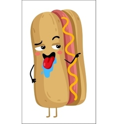 Funny hot dog isolated cartoon character vector image