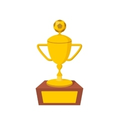Golden Soccer Trophy icon cartoon style vector image