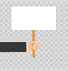 Hand holding white blank banner flat design icons vector