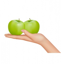 hand with apples vector image vector image