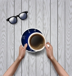 Hands holding cup of coffee coffee break vector