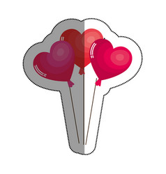 hearts balloons air icon vector image