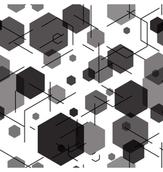 Hexagon seamless tech pattern vector image