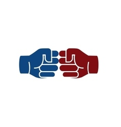 Isolated abstract brown and blue color human hands vector