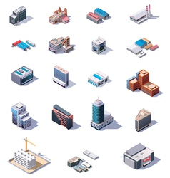 Isometric factory and office buildings set vector image