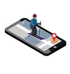Isometric man skiing searching for cross country vector