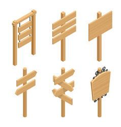 isometric set of a wooden signboards empty vector image vector image