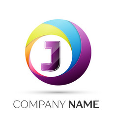 letter j logo symbol in the colorful circle on vector image vector image