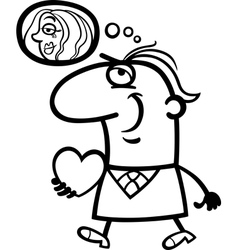 man with his valentine cartoon vector image vector image