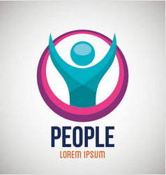 People silhouette colors icon vector