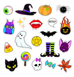 set of patches for halloween vector image vector image