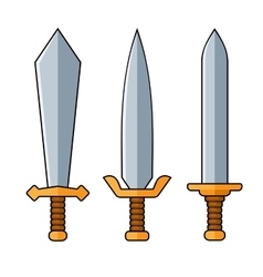 Swords Cartoon Style Set on White Background vector image
