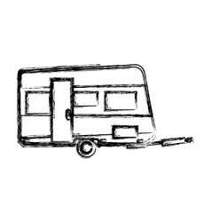 Trailer camping vehicle home transport sketch vector