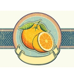Vintage label on old paperOrange fresh fruits vector image vector image