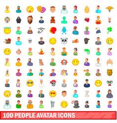 100 people avatar icons set cartoon style vector