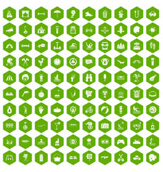 100 summer vacation icons hexagon green vector