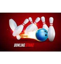 Bowling strike realistic background fire bowl game vector