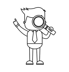 businessman funny with magnifying glass character vector image