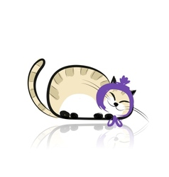 Funny slipping cat for your design vector