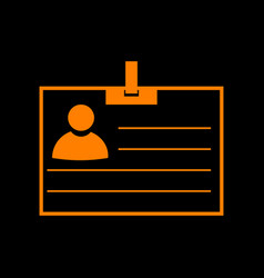 id card sign orange icon on black background old vector image