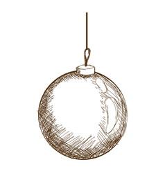 Christmas ball hanging decoration engraving design vector