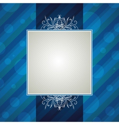 Blue striped background with decorative ornaments vector