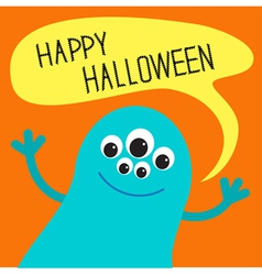 Cute blue monster with speech text bubble vector