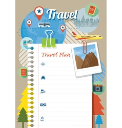 Blank paper traveling plan and background vector