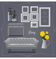 Interior design in grey furniture and decor vector