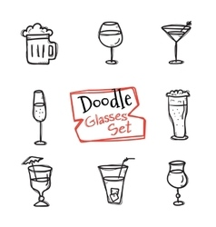 Doodle style glasses icons set hand drawn vector