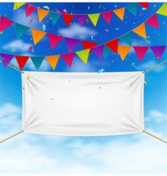 Colorful bunting flags with textile banner vector