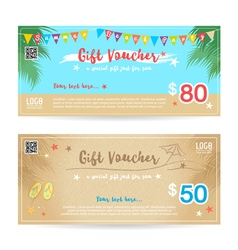 Gift voucher summer beach party blue sand vector