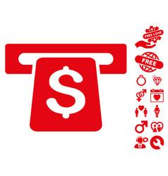 Atm icon with valentine bonus vector