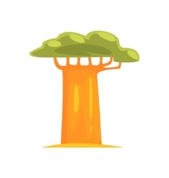 Baobab realistic simplified drawing vector