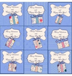 Big set of mini christmas cards vector image vector image