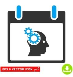 Brain gears calendar day eps icon vector