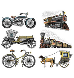 Car motorbike horse-drawn carriage locomotive vector