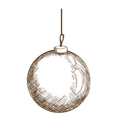 Christmas ball hanging decoration engraving design vector