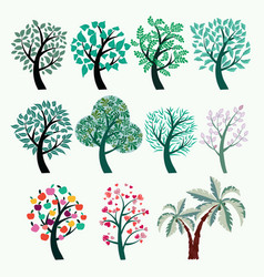 collection of green trees set of abstract vector image vector image