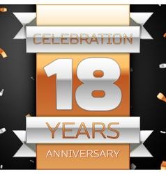 Eighteen years anniversary celebration golden and vector