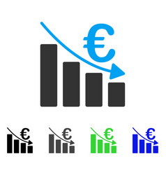 Euro recession bar chart flat icon vector