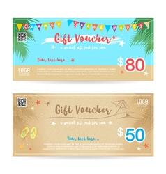 Gift voucher summer beach party blue sand vector