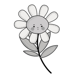 Grayscale kawaii sad flower plant with cheeks and vector