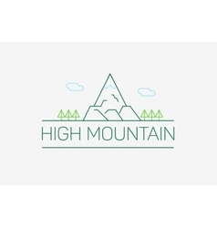 High mountain logo and emblem in outline vector