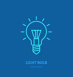 light bulb flat line icon sign of vector image